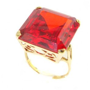 14K Yellow Gold Huge Heavy Square Octagon cut Synthetic Orange Sapphire Ring