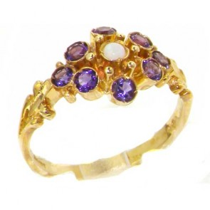 9ct Yellow Gold Natural Opal & Amethyst Ring