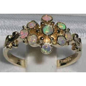 9ct Yellow Gold Natural Fiery Opal Ring