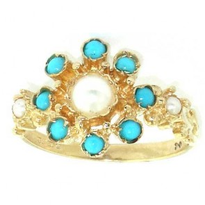 9ct Yellow Gold Pearl & Tuquoise Large Cluster Ring