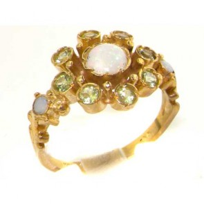 9ct Yellow Gold Fiery Opal & Vibrant Peridot Vintage Style Ring