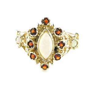 9ct Yellow Gold Ladies Fiery Marquise Opal & Garnet English Victorian Style Ring