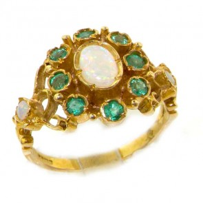 9ct Yellow Gold Fiery Opal & Emerald Ring