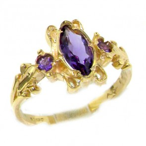 9ct Gold Victorian Style Amethyst Ring