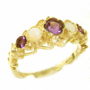 14K Yellow Gold Genuine Natural Amethyst & Opal Ring of English Georgian Design