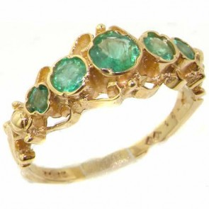 14K Yellow Gold Genuine Natural Emerald Ring of English Georgian Design