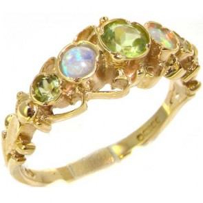 14K Gold Peridot & Opal Ring