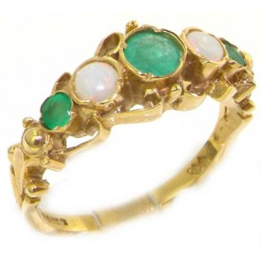 14K Gold Dainty Emerald & Opal Georgian Style Ring