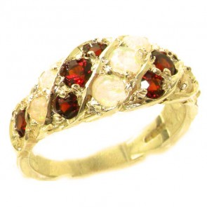 9ct Yellow Gold Natural Fiery Opal & Vibrant Garnet Band Ring