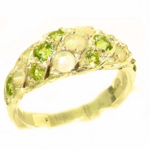 9ct Yellow Gold Natural Fiery Opal & Peridot Band Ring