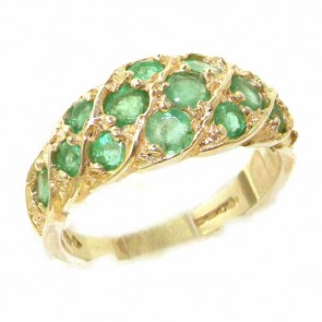 9ct Yellow Gold Vibrant Emerald Band Ring