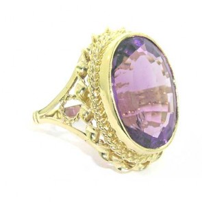 14ct Gold Large 20x15mm Amethyst Ring
