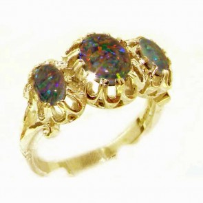 9ct Yellow Gold Natural Vibrant Opal Triplet Victorian Inspired Ring