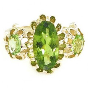 9ct Gold Long Marquise Peridot Ring