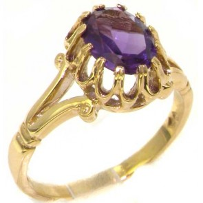 9ct Yellow Gold Natural Amethyst Womens Solitaire Engagment Ring