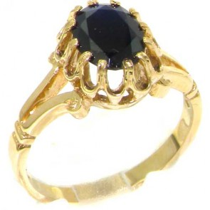 9ct Yellow Gold Natural Sapphire Womens Solitaire Engagement Ring