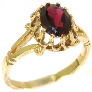 9ct Yellow Gold Natural Garnet Womens Solitaire Engagement Ring