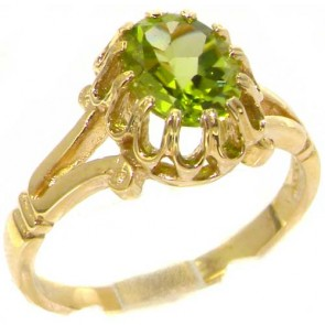 9ct Yellow Gold Natural Peridot Womens Solitaire Engagement Ring