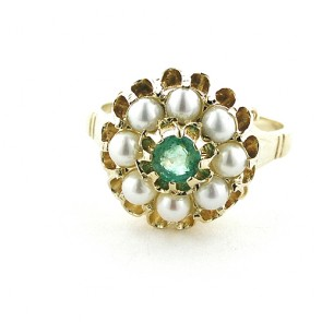9ct Yellow Gold Natural Emerald & Pearl Cluster Ring