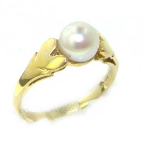 9ct Yellow Gold Ladies Lustrous Pearl Ring with Heart Shoulders