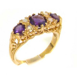 9ct Yellow Gold Vibrant Amethyst & Fiery Opal Ring