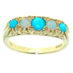 9ct Gold Turquoise & Fiery Opal Ring