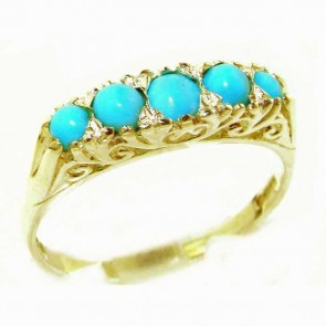 9ct Yellow Gold Turquoise Victorian Style Eternity Ring