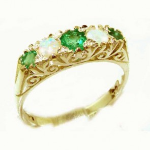 9ct Yellow Gold Opal & Emerald Victorian Style Eternity Ring