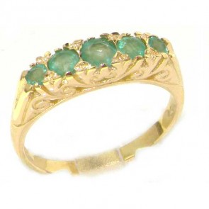 18ct Yellow Gold Ladies Carved Emerald Eternity Ring
