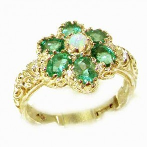 14K Yellow Gold Fiery Opal & Emerald Women Art Nouveau Flower Ring