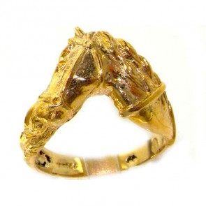 9ct Yellow Gold Large Horse Head & Tail Ring