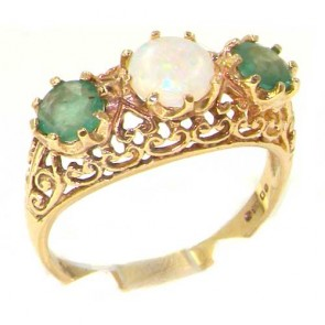 9ct Yellow Gold Large Fiery Opal & Emerald English Filigree Trilogy Ring