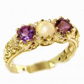 9ct Yellow Gold Natural Opal & Amethyst Art Nouveau Carved Trilogy Ring