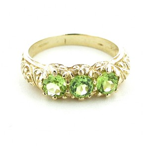 9ct Yellow Gold Natural Peridot Art Nouveau Carved Trilogy Ring