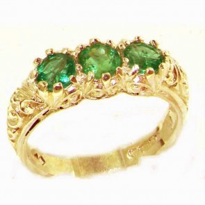 14K Yellow Gold Natural Emerald Art Nouveau Carved Trilogy Ring