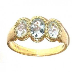 9ct Yellow Gold Ladies Aquamarine Ring