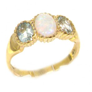 9ct Yellow Gold Ladies Fiery Opal & Aquamarine English Victorian Style Ring