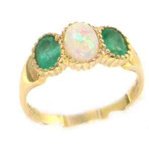 9ct Yellow Gold Ladies Opal & Emerald Eternity Ring