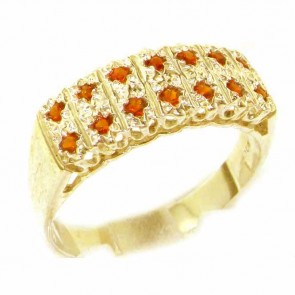 9ct Yellow Gold Natural Garnet Victorian Style Wide Eternity Band Ring