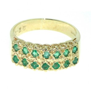 9ct Yellow Gold Natural Emerald Victorian Style Wide Eternity Band Ring