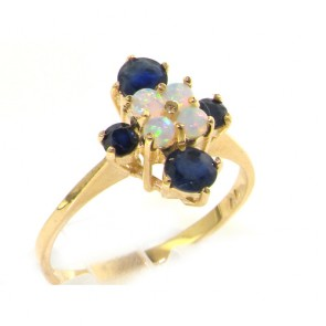9ct Yellow Gold Ladies Opal & Sapphire Cluster Ring