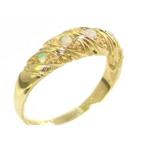 9ct Yellow Gold Ladies Fiery Opal Victorian Style Eternity Band Ring