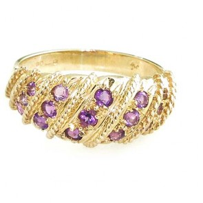 9ct Yellow Gold Ladies Amethyst Band Ring