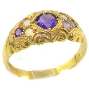 9ct Yellow Gold Natural Amethyst & Opal Victorian Style Ring