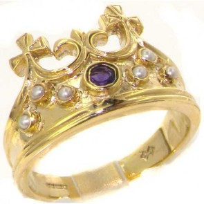 9ct Yellow Gold Natural Amethyst & Seed Pearl Victorian Style Monarchy Crown Ring