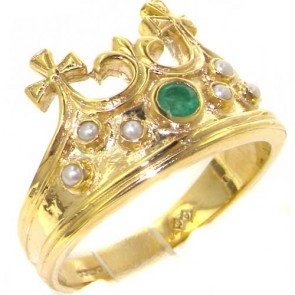 9ct Yellow Gold Natural Emerald & Seed Pearl Victorian Style Monarchy Crown Ring