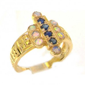 9ct Yellow Gold Ladies Large Sapphire & Opal Aztec Style Ring