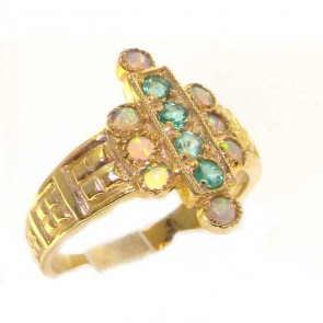 9ct Yellow Gold Ladies Large Emerald & Opal Aztec Style Ring