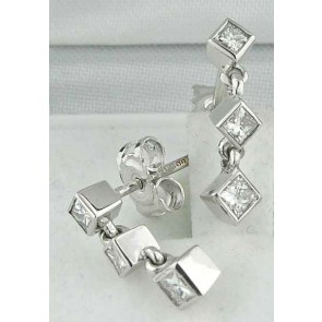 18ct White Gold Princess Cut Drop Diamond Earrings