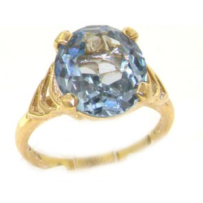 9ct Yellow Gold Synthetic Aquamarine Solitaire Ring